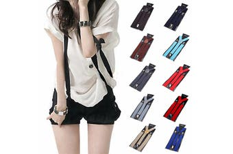 Fashion Unisex Clip-on Suspenders Elastic Y-Shape Mens Womens Adjustable