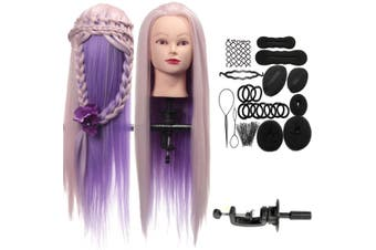 """27"""" Salon Colorful Human Hair Hairdressing Mannequin Practice Training Head With Clamp"""