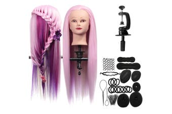 27inch Salon Colorful Human Hair Hairdressing Mannequin Practice Training Head With Clamp