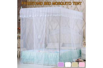 1.8mX2m Fly Insect Protection Luxury Princess Round Curtain 4 Corners Bed Mosquito Net Mesh Canopy Large Bed Netting 4 Colors (No Bracket) (white,TypeA 1.8x2m)