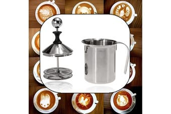 400ML Manual Foam Maker Milk Frother Coffee Cream Whisking Head Double Mesh