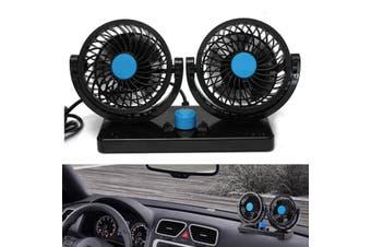 Car Cooling Cooler Fan 360 Degree Rotation Dual Head Adjustable Universal 12V