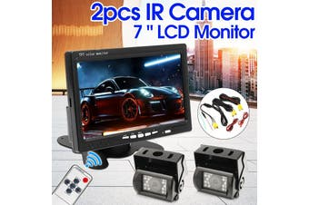 7 Inch LCD Monitor + 2x IR 18LED Reversing Backup Camera Rearview Kit For Truck Bus