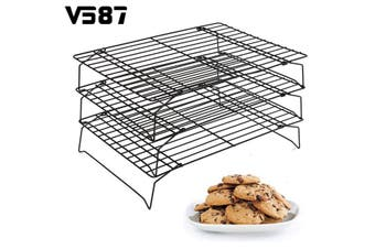 3 Tier Steel Baking Cooling Rack Tray Cookie Cake Food Stackable Kitchen Non-Sticky Retractable Tools Cupcake Cooling Gadgets