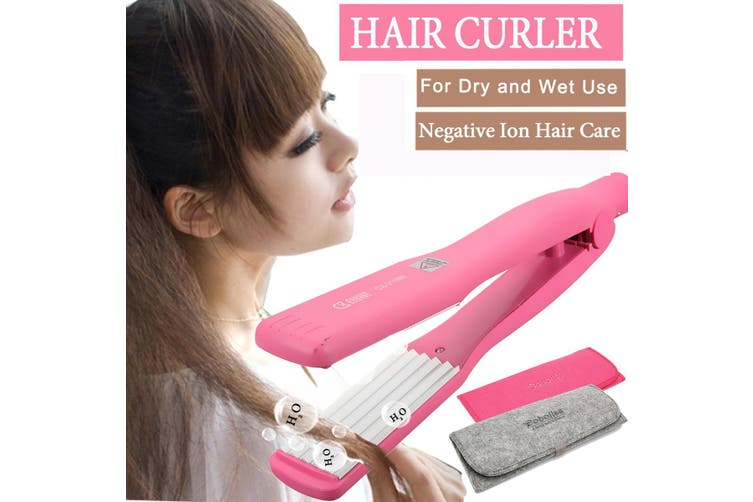Hair Crimper Iron Crimping Curler Curling Waver Ceramic Plate Wet/Dry Use Anion