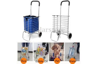 Folding Portable Shopping Basket Cart Trolley Trailer Two Wheels Aluminum Alloy