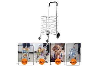 Folding Portable Shopping Basket Cart Trolley Trailer Four Wheels Aluminum Alloy