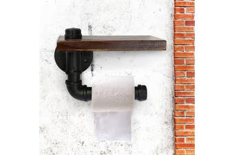 Industrial Wall Mount Iron Pipe Toilet Paper Holder Roller Wood Shelf 5.3x5.9''