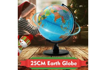 25cm Rotating World Earth Globe Atlas Map Geography Education Toy Desktop Decor