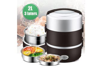 220V 270W 3 Layers 2L Lunch Box Steamer Pot Rice Cooker Stainless Steel