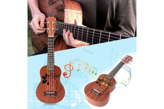 "21"" Wood Soprano Ukulele Uke Instrument Hawaiian Guitar 15 Frets Musical Flower"