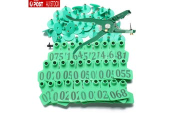 100X Set Large Ear Tag Animal Goat Sheep Pig Cow Cattle Livestock Label + Plier