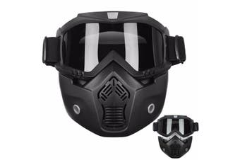 Riding Detachable Modular Face Mask Shield Goggles For Motorcycle Helmet Black