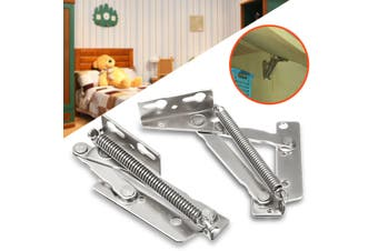 2X Stainless Steel Spring Hinges Cabinet Door Cupboard Lift Up Flap Top Support