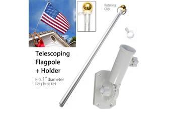 Aluminum 5FT Metal Telescoping Flag Pole Portable Telescopic Extendable Flagpole Kit +Screws Holder Mount Bracket Set
