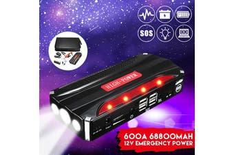 600A 68800mAh 12V 4USB Car Jump Starter Power Bank Rechargable Battery Emergency Power Multi-Function SOS Flashlight