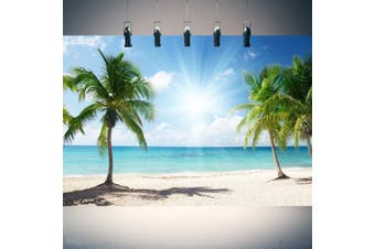 7x5ft/5x3ft Palm Tree Sun Sea Beach Background Photography Backdrops Photoshoot Studio Props