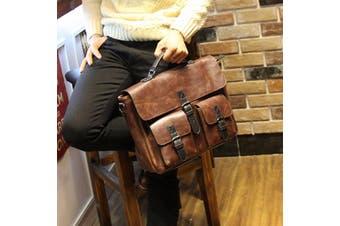 New Fashion Mens PU Leather Vintage Briefcase Messenger Shoulder Bag Crossbody Handbag Laptop Bags