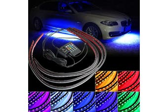 "Waterproof RGB Car Auto LED Strip Under Tube Underglow Underbody System Neon Light Lamp Kit 12V w/ Remote Control 2x90CM36""2x60CM24"""
