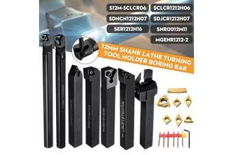 7PCS Set Of 12mm Lathe Turning Tool Holder Boring Bar + DCMT/CCMT Carbide
