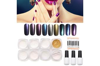 12pcs/set Nail Art Chameleon Mirror Glitter Powder Chrome Pigment Black UV Gel