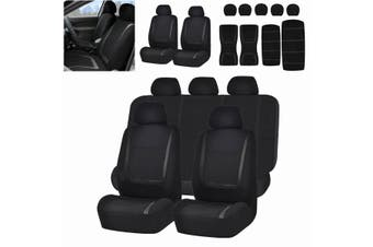 【Free Shipping + Flash Deal】Black Car Seat Covers Protectors Universal Washable Dog Pet Full Set Front Rear (black,5 heads)