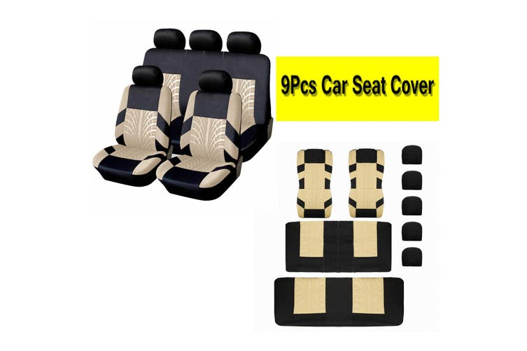 Universal 5 Head Car Autos Seat Bench Covers Protector Cushion Durable Polyester(beige,5 Heads 9PCS)