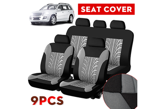 Universal 5 Head Car Seat Bench Covers Protector Cushion Durable Polyester Gray(grey,5 Heads 9PCS)