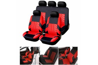 Universal 9Pcs Full Set Front Rear Seat Bench Covers Cushion for Car Truck SUV(red,5 Heads 9PCS)
