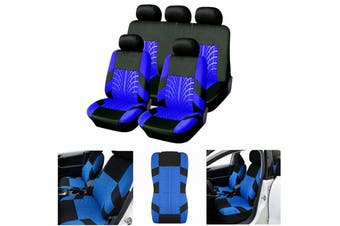 Universal Car 5 Heads Front Rear Seat Covers Protector Cushions 9Pcs Full Set(blue,5 Heads 9PCS)