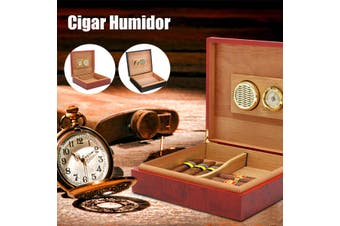 Brown Cedar Lined Cigar Humidor Humidifier With Hygrometer Case For Cohiba Cigar