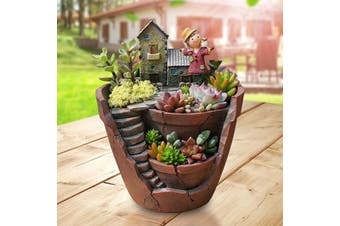 Cute Mini Resin Craft Sky Garden Flower Plant Pot Succulent Bonsai Pot Livingroom Garden Decor Gifts