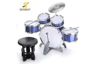 SENRHY Blue Drum Set Kit Children Kid Musical Instrument With Stool Sticks Cymbal Gift Percussion Instruments Gift for Kids