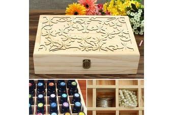 "Essential Oils Box Storage Case Wooden Laser Cut Container 70 Slots 14x10x3.5"""