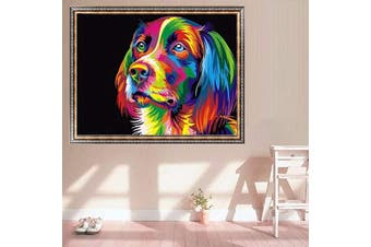 Wooden Framed Painting By Number Kit Multi-Colored Puppy Dog Pet