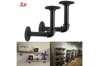 2pcs Vintage Retro Black Iron Industrial Pipe Shelf Bracket Holder With Screws(black,Pack of 2)