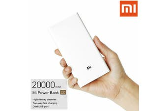 Original Xiaomi 20000mAh Polymer Power Bank 2 Dual USB Output with Quick Charger 3.0 (white,Upgrade)