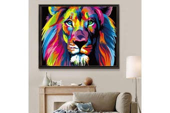 40x50cm With Frame DIY Painting By Numbers Kits Colorful Lions Animals Hand Painted Oil Paint By Numbers for Home Decor Art