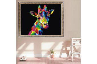 Wood Framed Paint By Number Kit Multi-Colored Giraffe Wild Animal DIY Home Decor Art Wall Decal Handmade Pictures Handicrafts