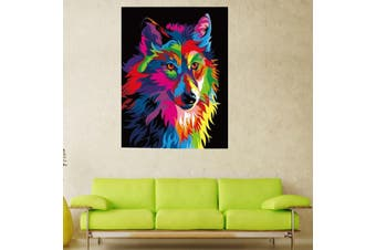 Wood Framed DIY Painting By Numbers Kit Multi-colored Wolf Canniness Wild Animal