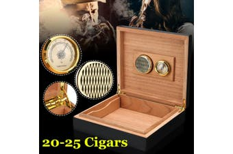 25 Counts Black Cedar Wood Wooden Lined Cigar Humidor Humidifier Storage Case Box With Hygrometer