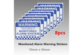 8Pcs Monitored Alarm System Warning Security Stickers Waterproof Sign Decal Security Sign
