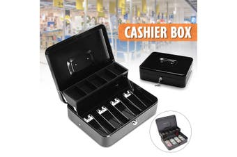 Black Metal Durable 4 Bills and 5 Coins Petty Cash Register Boxes Cashier Storage Box Coin Banks Money Drawer