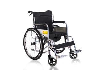 "24"" Folding Lightweight Steel Transport Wheelchair Brakes Folding Armrests"