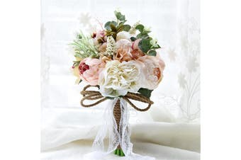 (photo)Handmade Wedding Bridesmaid Bouquets Bridal Silk Flowers Hand Bouquet Home Decor