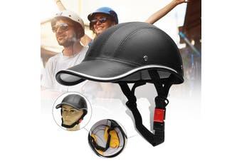 German Style Motorcycle Half Helmet Skull Cap Biker for Chopper Bobber Scooter(black,Black.)