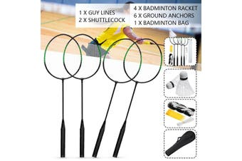Sport Rackets Shuttlecocks Poles Net Bag 16pcs 4 Player Professional Badminton Set