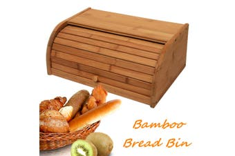 Bamboo Wood Roll Top Bread Bin Loaf Container Home Kitchen Food Storage Boxes