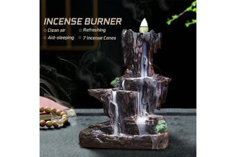 Ceramic Mountain Waterfall Backflow Incense Burner Cones Holder + 7 Cones Home Decor(incense burner holder)