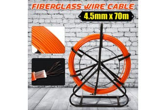 4.5mm x 70m Fiberglass Wire Cable Fish Snake Rodder Puller Flex Lead Electrician(orange,70m by 4.5mm)